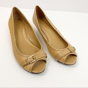 Lauren Ralph Lauren tan peep toe wedges size 6.5